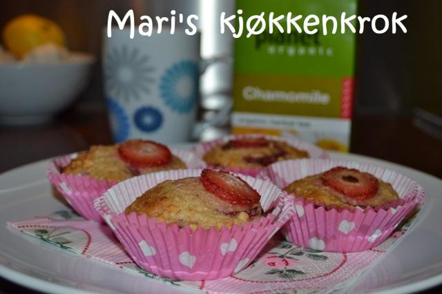 Oppskrift: Bananmuffins med jordbær og sjokoladedråper