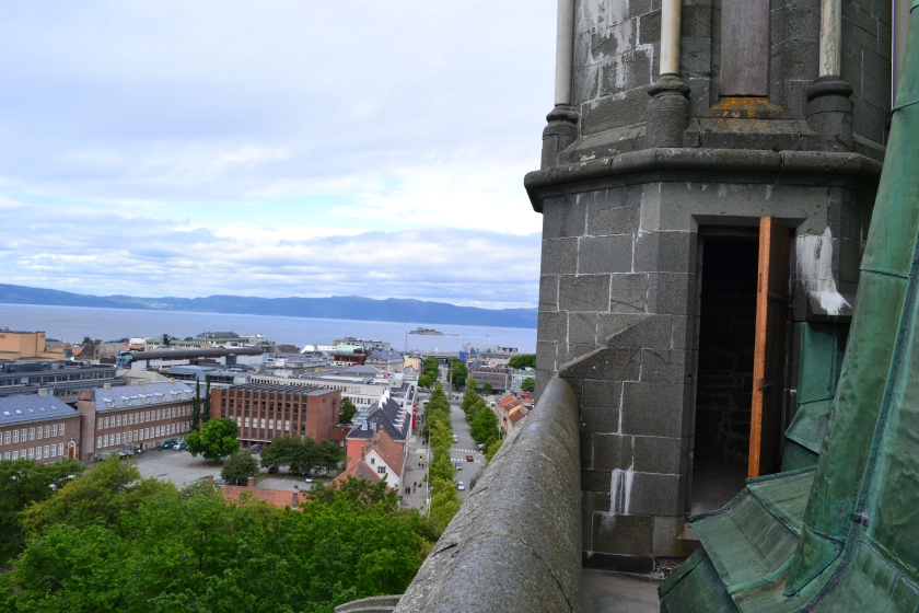 From the tower of the Nidarosdomen Cathedral you one can see out to the Monks' island.