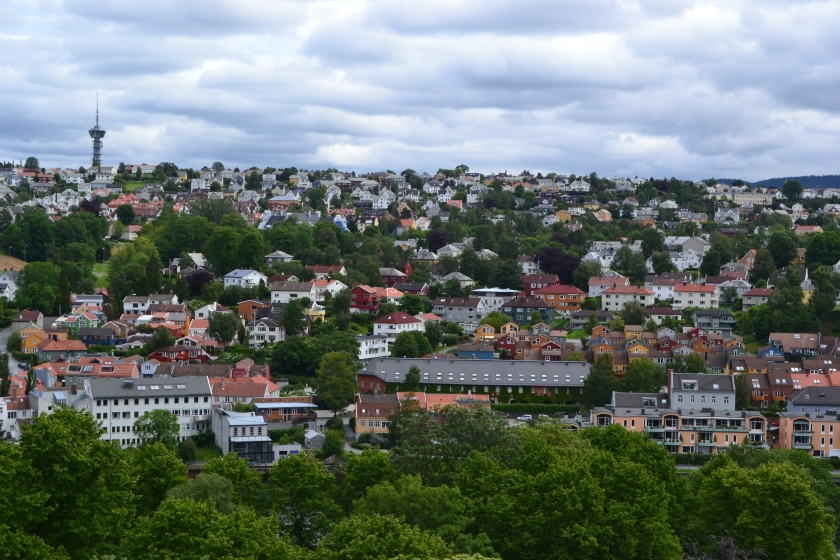 View overlooking Bakklandet from the tower of the Nidarosdomen Cathedral